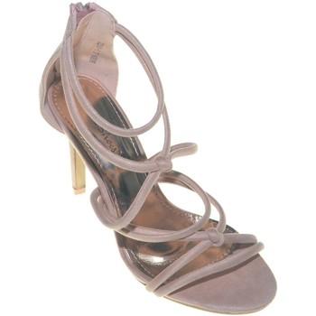 Scarpe Donna Sandali Malu Shoes Sandalo alto donna incrociato a nodi sul decollete in camoscio ROSA CIPRIA