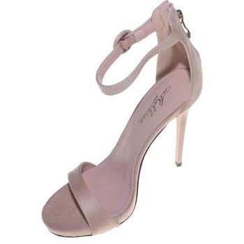 Scarpe Donna Sandali Malu Shoes Sandalo donna  camoscio cipria tacco a spillo linea basic tacco ROSA CIPRIA