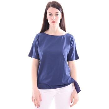 Abbigliamento Donna T-shirt maniche corte Seventy T-SHIRT BLU IN COTONE CON FIOCCO Blue