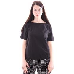 Abbigliamento Donna T-shirt maniche corte Seventy T-SHIRT NERA IN COTONE CON FIOCCO Black