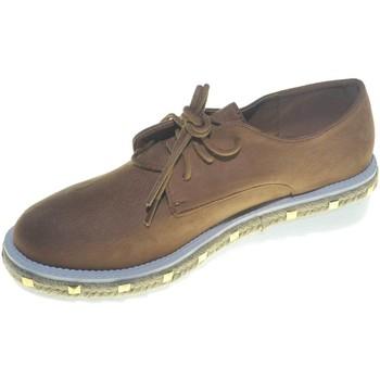 Scarpe Donna Derby Malu Shoes Scarpe francesine donna in nabuk cuoio con fondo light bianco m CUOIO