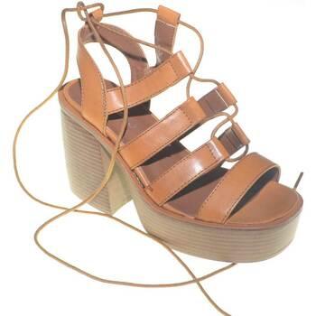 Scarpe Donna Tronchetti Malu Shoes Sandalo donna alla schiava con fondo platform separato e platea CUOIO