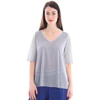 Abbigliamento Donna T-shirt maniche corte White.7 MAGLIA GRIGIA MELANGE CON SCOLLO A V Grey
