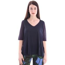 Abbigliamento Donna T-shirt maniche corte White.7 MAGLIA BLU CON SCOLLO A V Blue