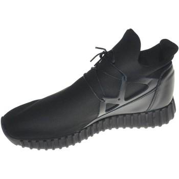 Scarpe Uomo Sneakers basse Made In Italy Scarpe uomo sneakers bassa tomaia in vera pelle e tessuto lycra NERO