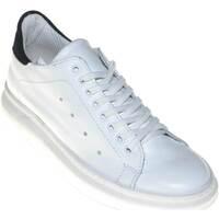 Scarpe Uomo Sneakers basse Made In Italy Scarpe uomo sneaker bassa bianco con fortino nero in pelle scamo BIANCO