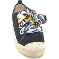 Scarpe Donna Espadrillas Malu Shoes Sneakers bassa nero donna in tessuto arricchita con lacci colora nero