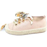 Scarpe Donna Espadrillas Malu Shoes Sneakers bassa rosa donna in tessuto arricchita con lacci color ROSA