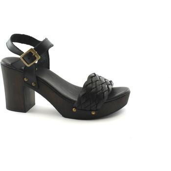Scarpe Donna Ciabatte Divine Follie 609 nero sandali donna tacco plateaux cinturino Nero