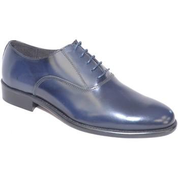 Scarpe Uomo Classiche basse Malu Shoes Scarpe uomo francesina blu pelle lucida fondo cuoio antiscivolo BLU