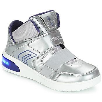 Scarpe Bambina Sneakers alte Geox J XLED GIRL Argento