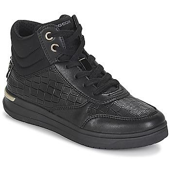 Scarpe Bambina Sneakers alte Geox J AVEUP GIRL Nero / Oro