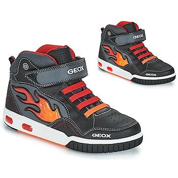 Scarpe Bambino Sneakers alte Geox JR GREGG Nero / Rosso