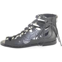 Scarpe Donna Sandali Malu Shoes sandali bassi scarpe donna allacciati alla schiava con borchie NERO