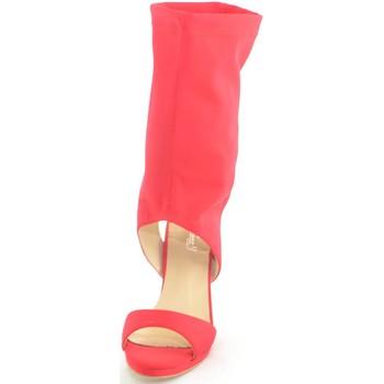 Scarpe Donna Sandali Malu Shoes sandali donna tacco in lycra elastene con gambale alto rosso gl ROSSO
