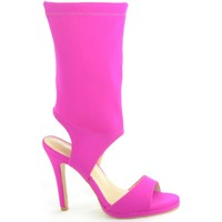 Scarpe Donna Sandali Malu Shoes sandali donna tacco in lycra elastene con gambale alto fucsia g FUCSIA