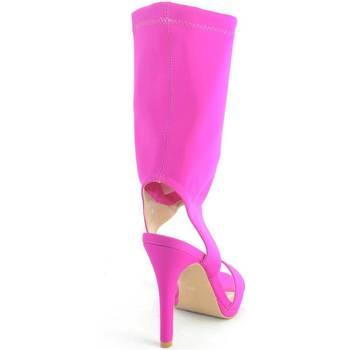 Scarpe Donna Sandali Malu Shoes sandali donna tacco in lycra elastene con gambale alto fucsia gl FUCSIA