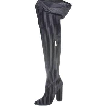 Scarpe Donna Stivali Malu Shoes Stivale alto nero sopra ginocchio  a punta rigato in velluto ner NERO
