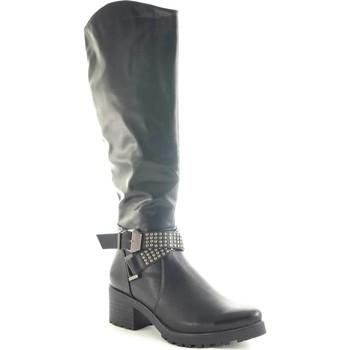 Scarpe Donna Stivali Malu Shoes Stivale alto donna sotto ginocchio in ecopelle nero con fibbie e NERO