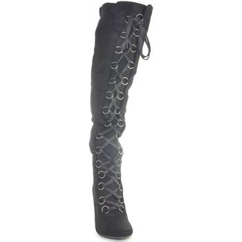 Stivali Malu Shoes  Stivali donna neri in camoscio nero sopra al ginocchio a punta  colore Nero