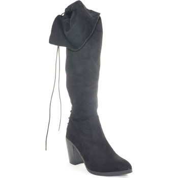 Scarpe Donna Stivali Malu Shoes Stivali donna alto in camoscio nero al ginocchio tacco largo str NERO