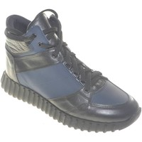 Scarpe Uomo Sneakers alte Made In Italia Scarpe uomo ginnico man vera pelle bicolore a contrasto con ins NERO