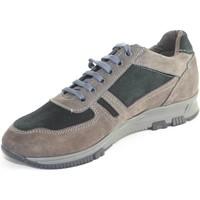 Scarpe Uomo Sneakers basse Malu Shoes Scarpe uomo stringate vera pelle bicolore scamosciata grigia e n GRIGIO