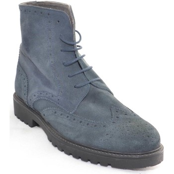 Scarpe Uomo Stivali Made In Italy Calzature uomo Anfibio francesina vera pelle scamosciata blu fon BLU