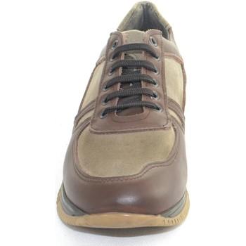 Scarpe Uomo Sneakers basse Made In Italia Scarpe uomo calzature  vera pelle bicolore e scamo MARRONE