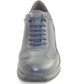 Scarpe Uomo Sneakers basse Made In Italy Scarpe uomo sneakers bassa  vera pelle nappa blu e BLU