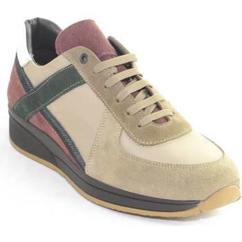 Scarpe Uomo Sneakers basse Made In Italia Scarpe uomo stringate moda maschile linea comfort BEIGE