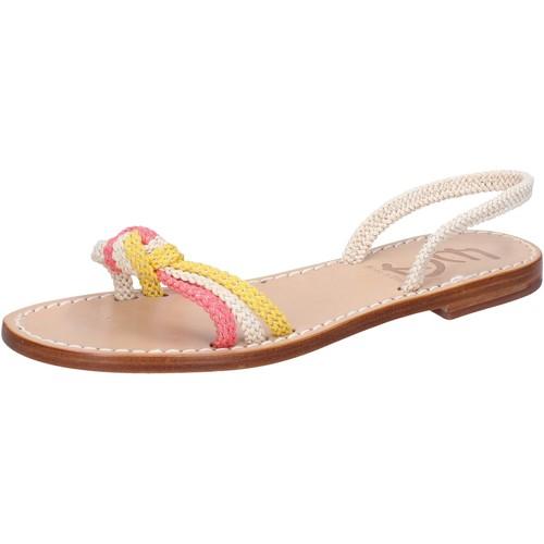 Eddy Daniele scarpe donna sandali bianco corda rosa giallo av411 Multicolore - Scarpe Sandali Donna 39,00