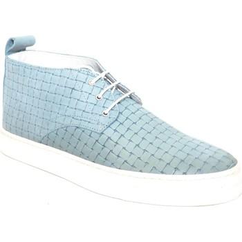 Scarpe Uomo Sneakers alte Made In Italy Scarpe uomo polacchino con tomaia intreccio vera pelle  gomma ba BLU