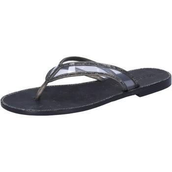 Scarpe Donna Sandali Eddy Daniele sandali grigio pelle nero plastica swarovski aw682 Grigio