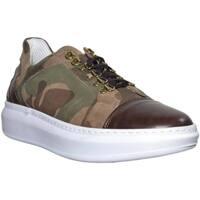 Scarpe Uomo Sneakers basse Made In Italy SNEAKERS BASSA UOMO IN NABUK CAMOUFLAGE FONDO QUEEN VERA PELLE G VERDE