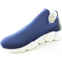 Scarpe Uomo Sneakers basse Made In Italia Scarpe uomo calzino lycra blu fondo bianco antistatica e antisc BLU