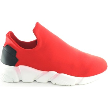 Scarpe Uomo Slip on Malu Shoes Scarpe uomo calzino lycra rosso fondo bianco antistatica e anti ROSSO