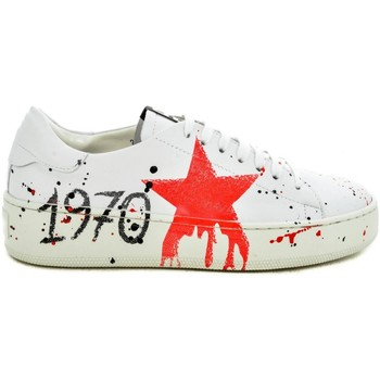 Scarpe Donna Sneakers basse Thc Collections +THC+ COLLECTIONS G2060 VITELLO BIANCO/ROSSO Bianco