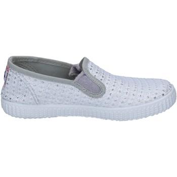 Scarpe Donna Slip on Cienta scarpe bambina  slip on bianco tessuto argento profumate BX350 Bianco
