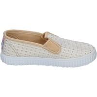 Scarpe Donna Slip on Cienta scarpe bambina  slip on bianco tessuto oro profumate BX351 Bianco