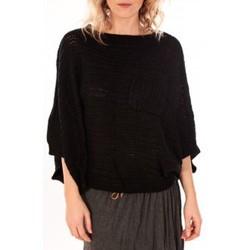 Abbigliamento Donna Maglioni De Fil En Aiguille Pull Poncho Sophyline T-1614 Noir Nero