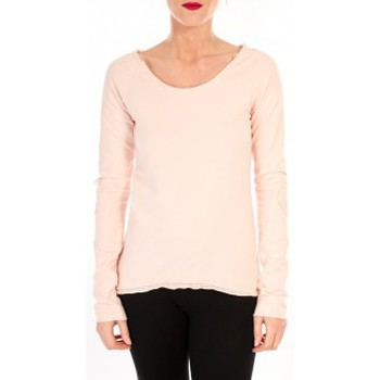 Abbigliamento Donna T-shirts a maniche lunghe By La Vitrine T-shirt Empiècement Pailleté 2119 Rose Poudre Rosa