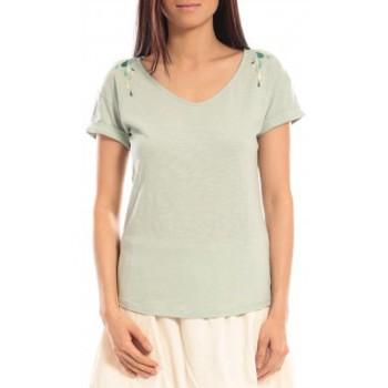 Abbigliamento Donna T-shirt maniche corte Blune T-shirt Larmes de Joie LJ-TF01E13 Vert Verde