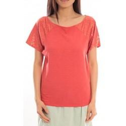 Abbigliamento Donna T-shirt maniche corte Blune T-Shirt Pointilleuse PO-TF02E13 Rouge Rosso
