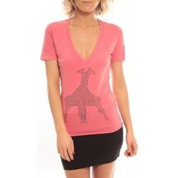 Abbigliamento Donna T-shirt maniche corte So Charlotte V neck short sleeves Giraffe T00-91-80 Rose Rosa