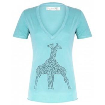 Abbigliamento Donna T-shirt maniche corte So Charlotte V neck short sleeves Giraffe T00-91-80 Vert Verde