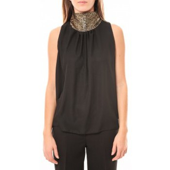 Abbigliamento Donna Top / T-shirt senza maniche Tcqb Top Paillettes Dorées 114-70 Noir Nero