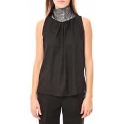Abbigliamento Donna Top / T-shirt senza maniche Tcqb Top Paillettes Argentées 114-70 Noir Nero