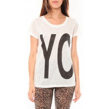 Abbigliamento Donna T-shirt maniche corte Tcqb Tee shirt SL1511 Blanc Bianco