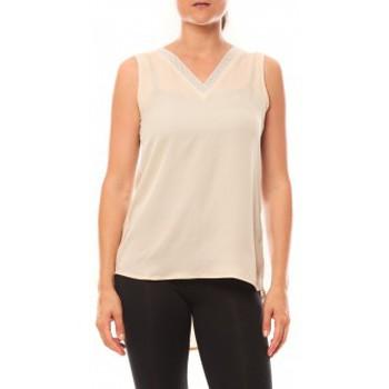 Abbigliamento Donna Top / T-shirt senza maniche De Fil En Aiguille Débardeur Voyelle L147 Beige Beige